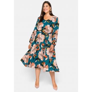 Kleid mit Blumendruck, aus Georgette-Qualität, petrol bedruckt, Gr.44-58
