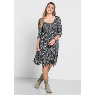 Große Größen: Kleid mit Blumendruck, schwarz bedruckt, Gr.40-58