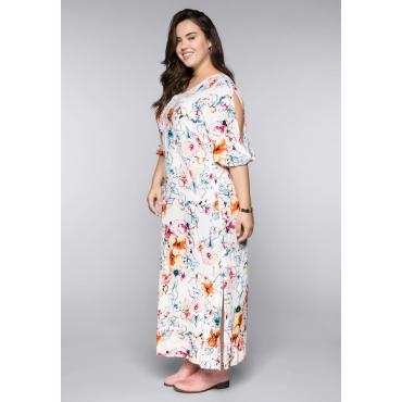 Große Größen: Kleid mit Blumenprint und Spitze am V-Ausschnitt, weiß bedruckt, Gr.44-58