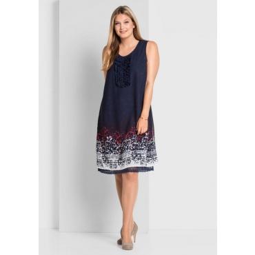 Große Größen: Kleid mit breitem Borderprint, marine bedruckt, Gr.40-58