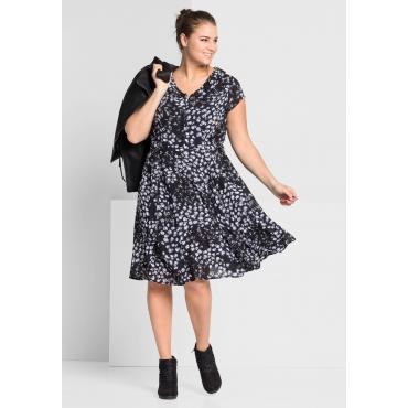 Große Größen: Kleid mit Bubikragen, blau bedruckt, Gr.44-58