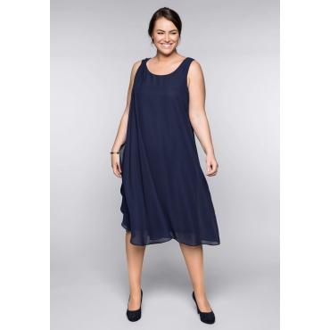 Große Größen: Kleid mit Chiffon, marine, Gr.44-58