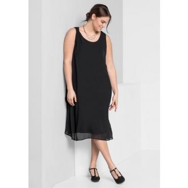 Große Größen: Kleid mit Chiffon, schwarz, Gr.44-58