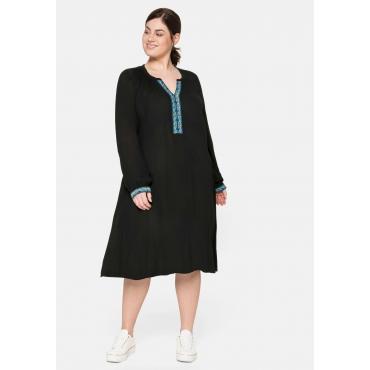 Kleid mit dekorativer Blende, aus Crêpe, schwarz, Gr.40-58