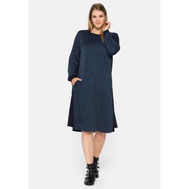 Kleid mit dezenten Karos und Sweat-Kontrastbündchen, blau gemustert, Gr.44-58