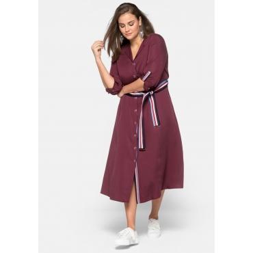 Kleid mit Druckknöpfen und Streifen-Gürtel, weinrot, Gr.44-58