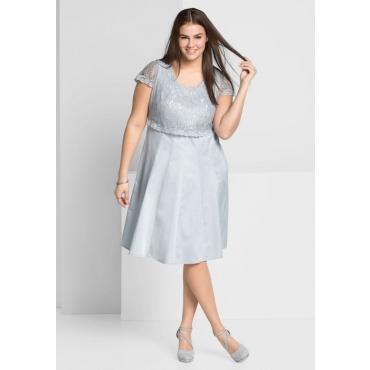 Große Größen: Kleid mit edlem Spitzenoberteil, lichtgrau, Gr.44-58