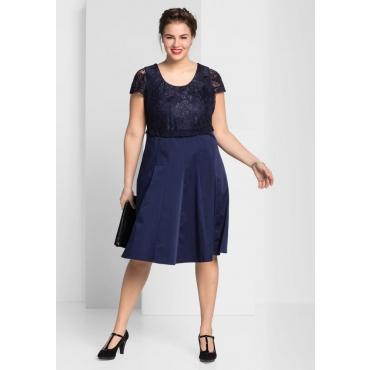 Große Größen: Kleid mit edlem Spitzenoberteil, marine, Gr.44-58