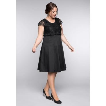 Große Größen: Kleid mit edlem Spitzenoberteil, schwarz, Gr.44-58