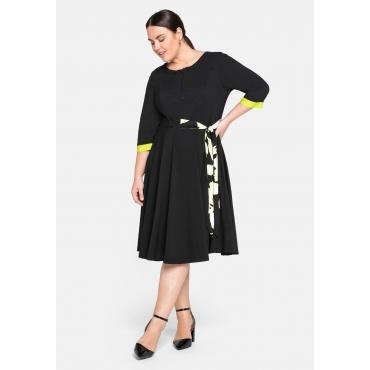 Kleid mit fixiertem Bindeband und Kontrastdetails, schwarz, Gr.44-58