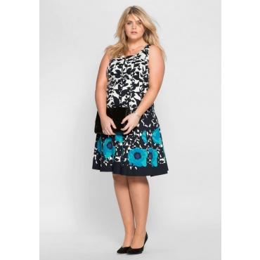 Große Größen: Kleid mit floralem Alloverdruck, dunkelblau-türkis, Gr.40-58