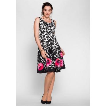 Große Größen: Kleid mit floralem Alloverdruck, schwarz-weiß, Gr.40-58