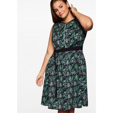 Kleid mit floralem Alloverdruck und Reißverschluss vorn, schwarz gemustert, Gr.44-58