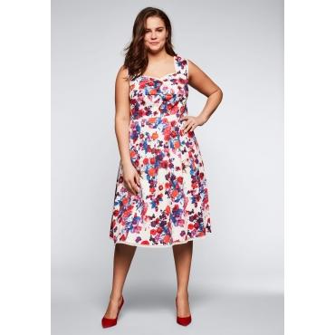 Große Größen: Kleid mit floralem Alloverdruck und Spitzendetails, weiß bedruckt, Gr.44-58