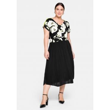 Kleid mit floralem Druck und tiefem V-Ausschnitt, schwarz bedruckt, Gr.44-58