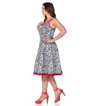Große Größen: Kleid mit floralem Druck, weiß bedruckt, Gr.40-58
