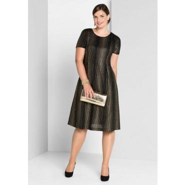 Große Größen: Kleid mit goldenem Druck, schwarz bedruckt, Gr.40-58