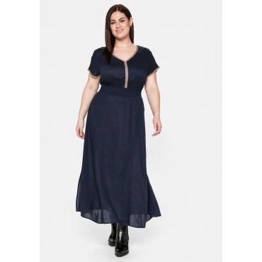 Kleid mit Gummizugbund und Kontrastdetails, nachtblau, Gr.40-58