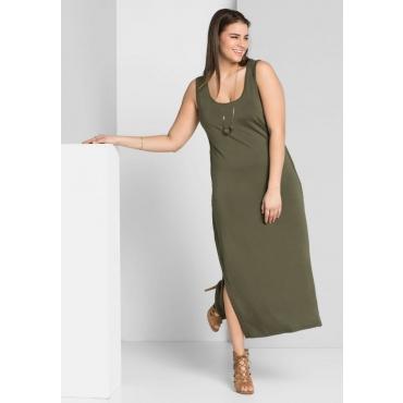 Große Größen: Kleid mit Häkelspitze, dunkelkhaki, Gr.44-58