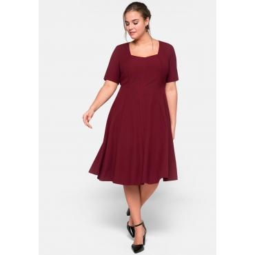 Kleid mit Halbarmen aus elastischem Crêpe, rubinrot, Gr.44-58