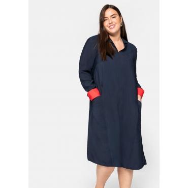 Kleid mit Hemdkragen und Kontrastdetails, nachtblau, Gr.44-58