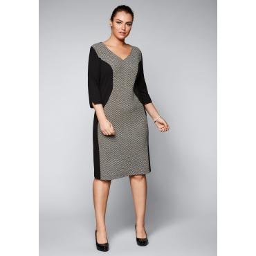 Große Größen: Kleid mit Jacquardeinsatz, schwarz-offwhite, Gr.44-58