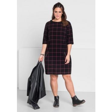 Große Größen: Kleid mit kariertem Muster, schwarz-pink, Gr.44-58