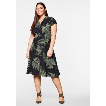Kleid mit Knöpfen, Taillenband und Palmendruck, schwarz bedruckt, Gr.44-58