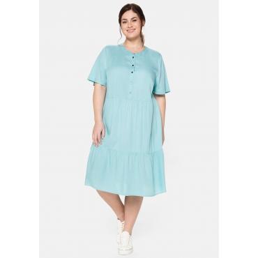 Kleid mit Knopfleiste und Volants, helltürkis, Gr.40-58
