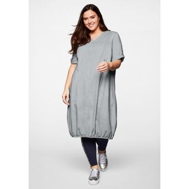 Kleid mit Leinen; Saum mit Gummizug, hellgrau, Gr.44-58