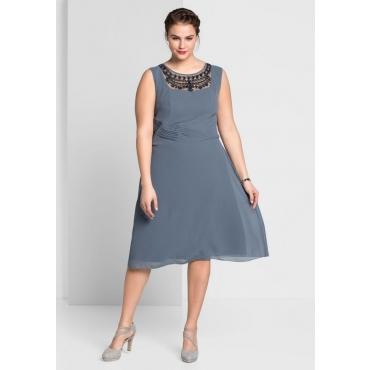 Große Größen: Kleid mit Mesh-Einsatz, blaugrau, Gr.44-58