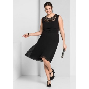 Große Größen: Kleid mit Mesh-Einsatz, schwarz, Gr.44-58