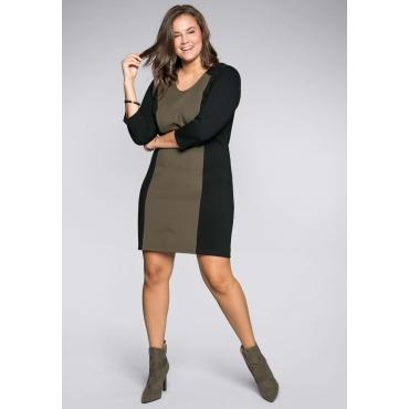 Große Größen: Kleid mit modischen Applikationen, dunkelkhaki, Gr.44-58
