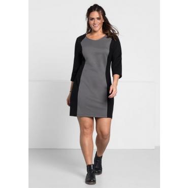 Große Größen: Kleid mit modischen Applikationen, rauchgrau, Gr.44-58