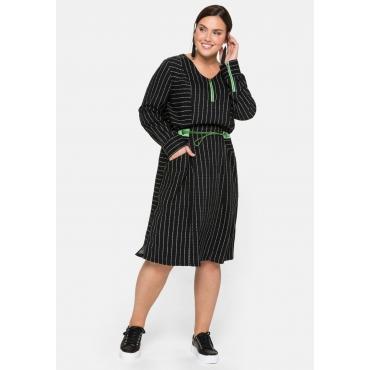Kleid mit neonfarbenen Details, schwarz, Gr.44-58