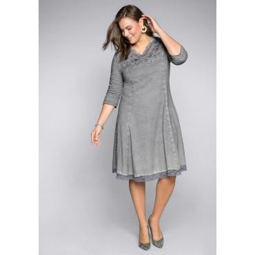 Große Größen: Kleid mit Pailletten, Stickerei und Spitze, steingrau, Gr.44-58