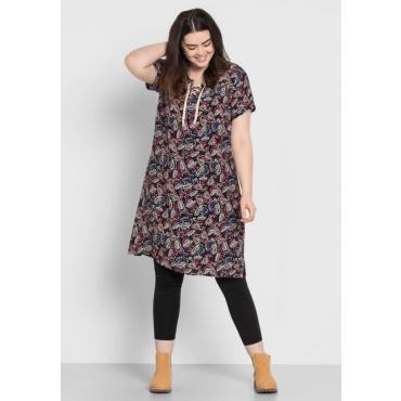 Große Größen: Kleid mit Paisleydruck, schwarz bedruckt, Gr.44-58