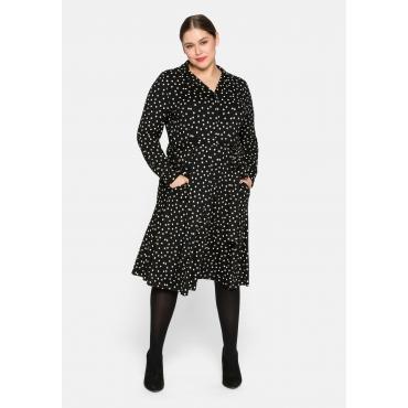 Kleid mit Pünktchendruck und Reverskragen, schwarz bedruckt, Gr.44-58