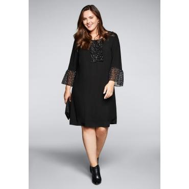 Große Größen: Kleid mit Punkten, schwarz, Gr.44-58