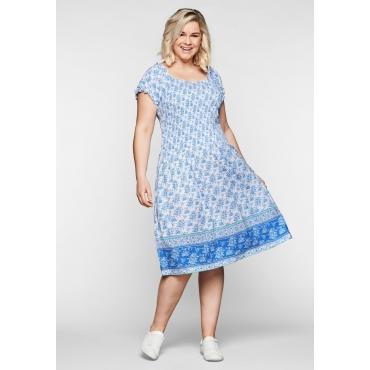 Kleid mit Rüschen, Smok-Oberteil und Alloverdruck, weiß, Gr.44-58