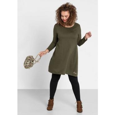Große Größen: Kleid mit rundem Smok-Ausschnitt, dunkelkhaki, Gr.40-58