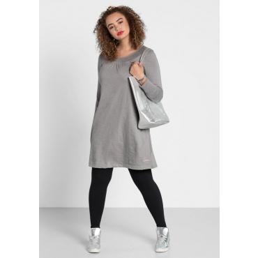 Große Größen: Kleid mit rundem Smok-Ausschnitt, steingrau, Gr.40-58