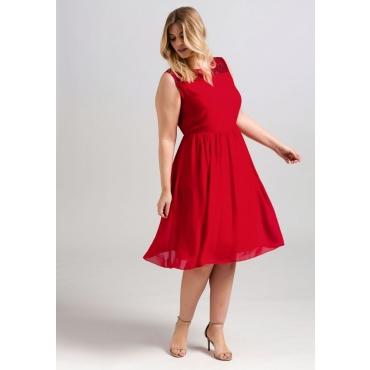 Große Größen: Kleid mit schimmernden Pailletten, mohnrot, Gr.44-58