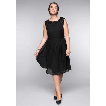 Große Größen: Kleid mit schimmernden Pailletten, schwarz, Gr.44-58