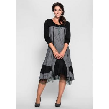 Große Größen: Kleid mit Schnürung im Rücken, grau-schwarz, Gr.40-58