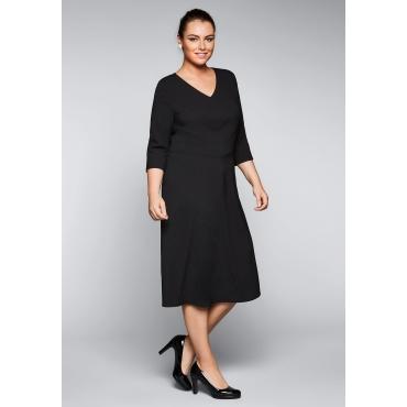 Große Größen: Kleid mit schräg verlaufenden Teilungsnähten, schwarz, Gr.44-58
