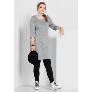 Große Größen: Kleid mit Seitenschlitzen, grau meliert, Gr.40/42-56/58