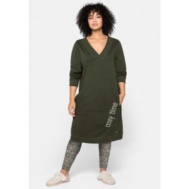Kleid mit seitlichem Frontdruck und Eingrifftaschen, dunkeloliv, Gr.44/46-56/58