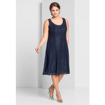 Große Größen: Kleid mit Spitze, marine, Gr.44-58