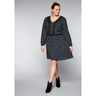 Große Größen: Kleid mit Spitzen-Details, schwarz bedruckt, Gr.44-58